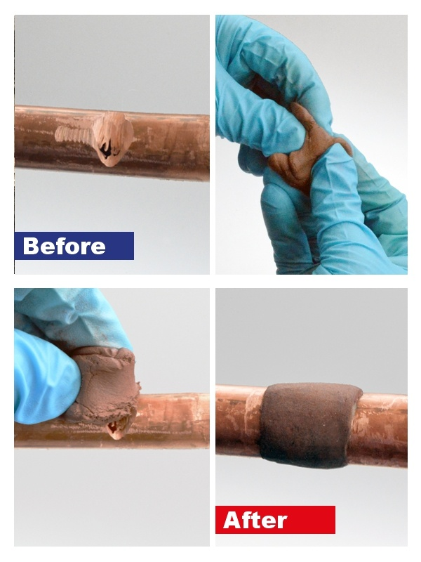 Superfast Copper Epoxy Putty Stick being used to repair a copper pipe