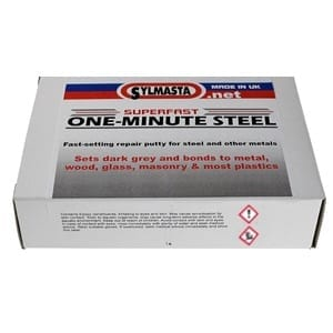 Superfast One Minute Steel is a fast-setting steel epoxy putty that permanently fixes leaks and damage to steel and other metals inside of two minutes