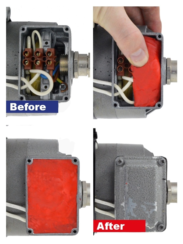 Electrical junction box repaired using Pack & Seal Electrical Sealant Putty
