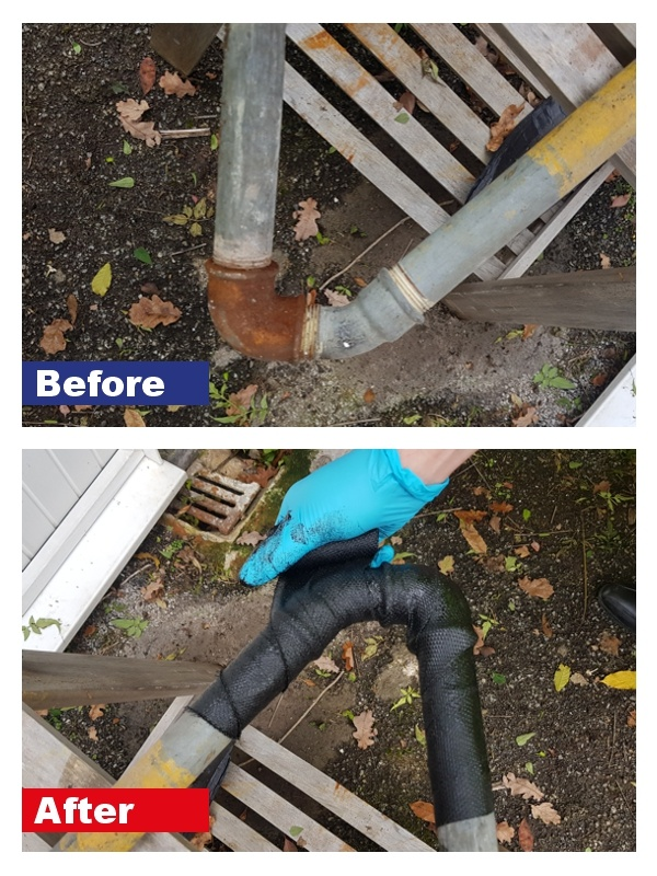 SylWrap CR applied to a corroded pipe in order to strengthen and protect