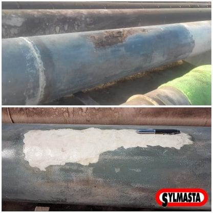 Pipe surface restoration carried out with Sylmasta AB Epoxy Putty