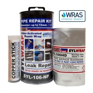 SylWrap Pipe Repair Kits contain all the equipment needed for repairing leaking pipes where the pressure cannot be isolated