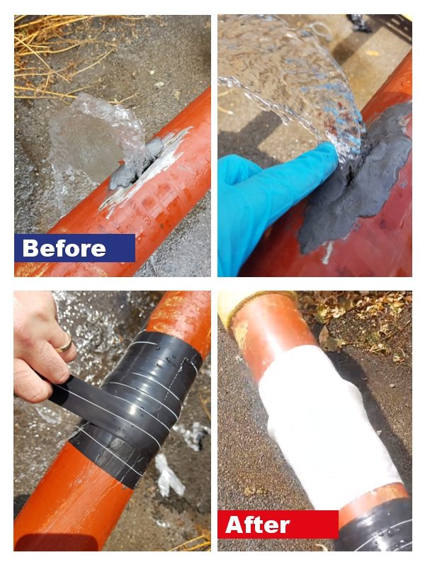 Live leak pipe repair being carried out by the SylWrap Universal Pipe Repair Kit