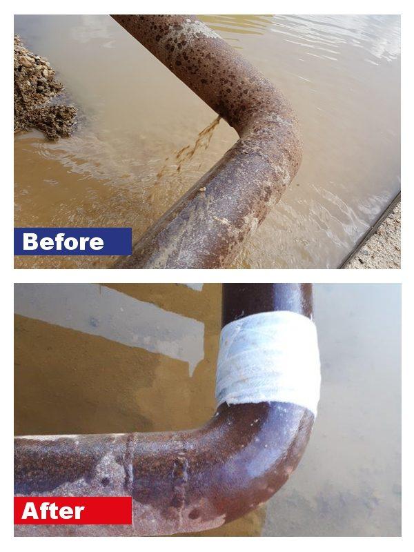 SylWra Standard Pipe Repair Kit used to repair leaking pipes at a quarry washplant