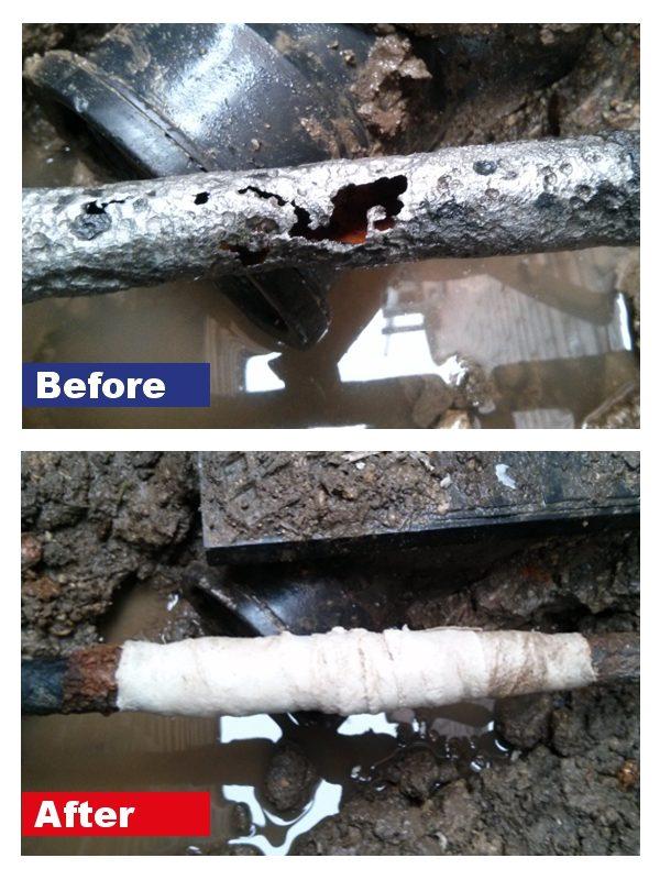 SylWrap Standard Pipe Repair Kit repairing a leaking water pipe