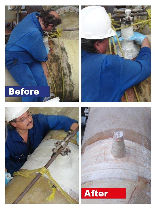 Pipe Repair Bandages used to repair damage to a leaking pipe in a cooling sea water supply line