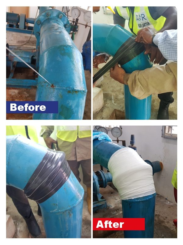 The equipment in a SylWrap Pipe Repair Contractor Case used to fix a live leak in