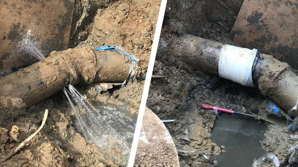 A contaminated water pipe at a wastewater treatment works in the United Kingdom is repaired after being accidentally breached during construction work