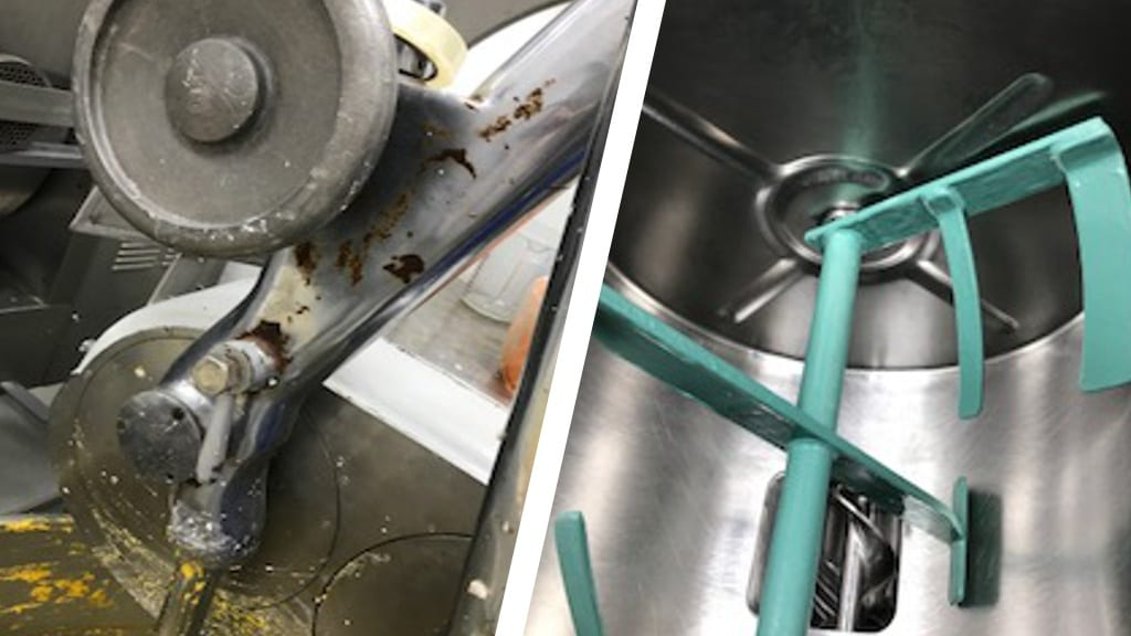 Sylmasta Ceramic Brushable Green used to reapir corroded mixing blades in a flour mixer at a bakery in Puerto Rico