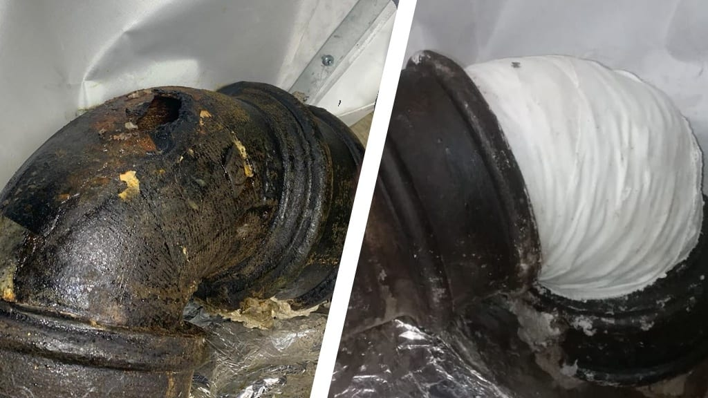 Pipe repair carried out to a wastewater pipe made of cast iron in a central London hotel