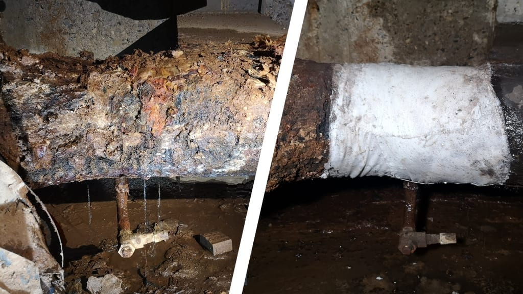 Repair of a heavily corroded pipe in a district heating system made using a SylWrap Universal Pipe Repair Kit