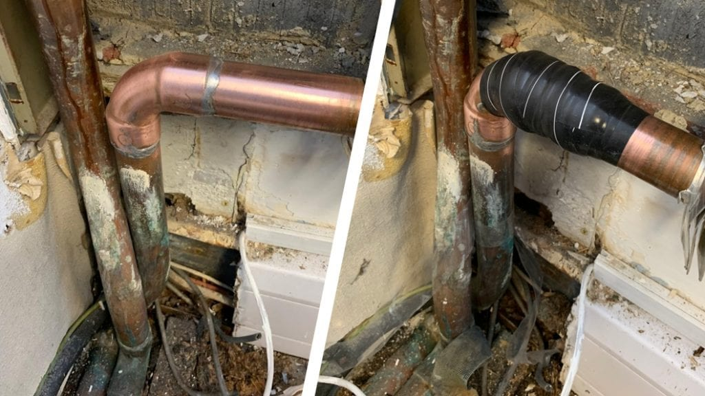 Wrap & Seal Pipe Burst Tape used to repair a domestic copper pipe leaking from badly soldered joints