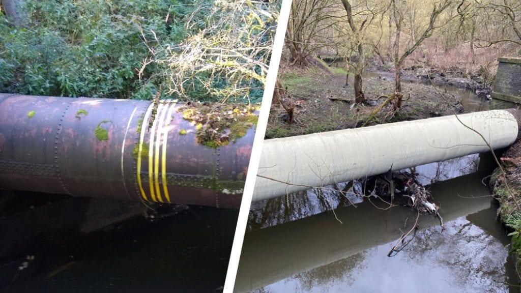 Pipe bridges leaking from rusting riveted joints undergo a leak repair and reinforcement using SylWrap HD Pipe Repair Bandage