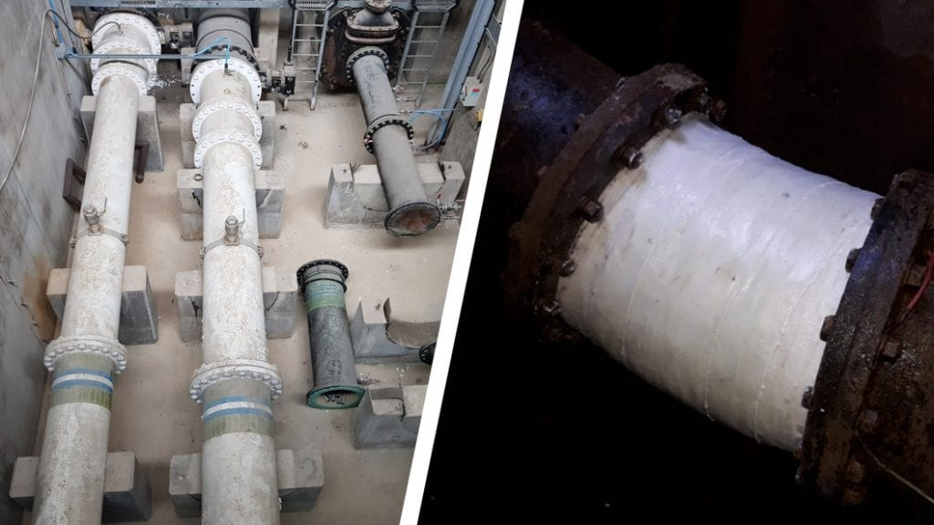 Reinforcement of 22 degree elbows on cast iron water mains carried out by Sylmasta