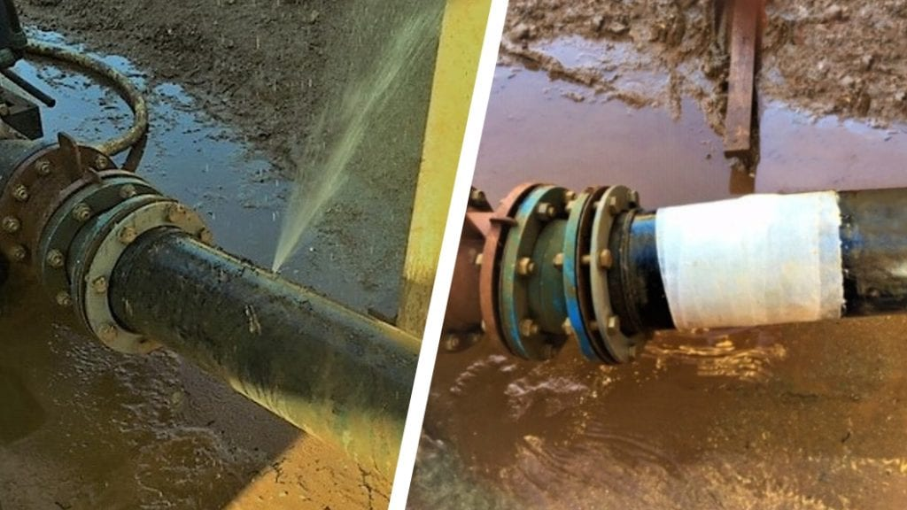 A pierced plastic pipe in a quarry wash plant undergoes a leak repair using a SylWrap Standard Pipe Repair Kit