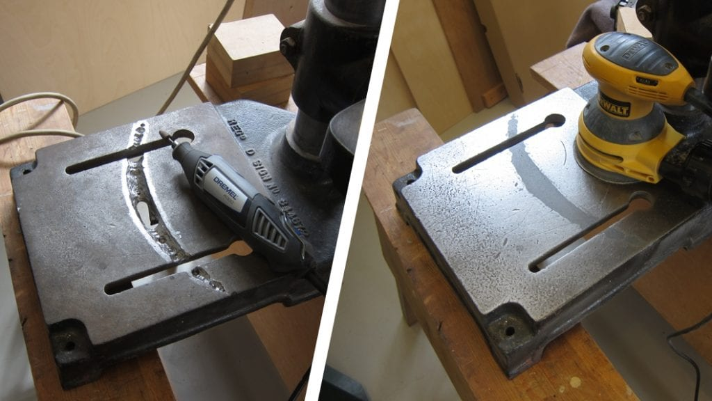 Industrial Metal used to repair a severely damaged drill base stand