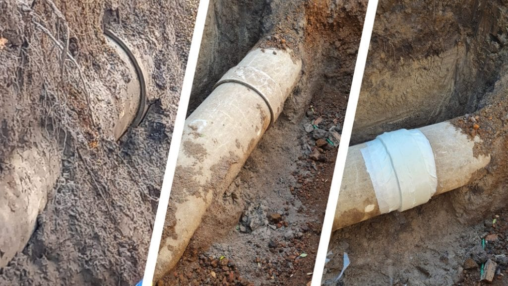 A leaking asbestos cement pipe with water escaping from a sleeve undergoes repair in Mexico using a SylWrap Pipe Repair Kit