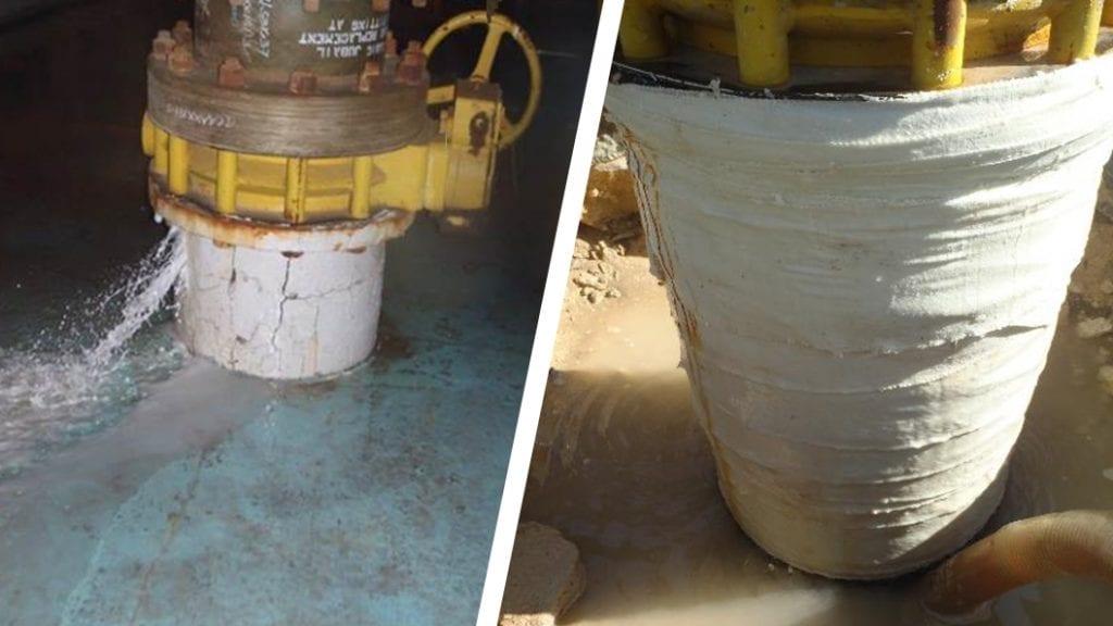 A PCCP pipe stub leaking through several cracks undergoes a live leak repair in Saudi Arabia