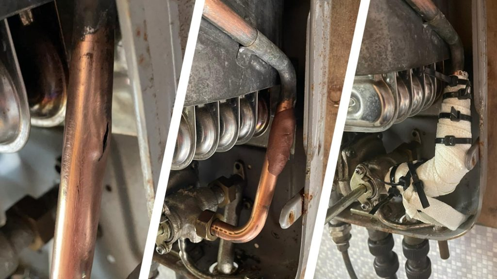 A copper pipe in a camper van boiler system undergoes repair using Superfast Copper Epoxy Putty and a SylWrap HD Pipe Repair Bandage