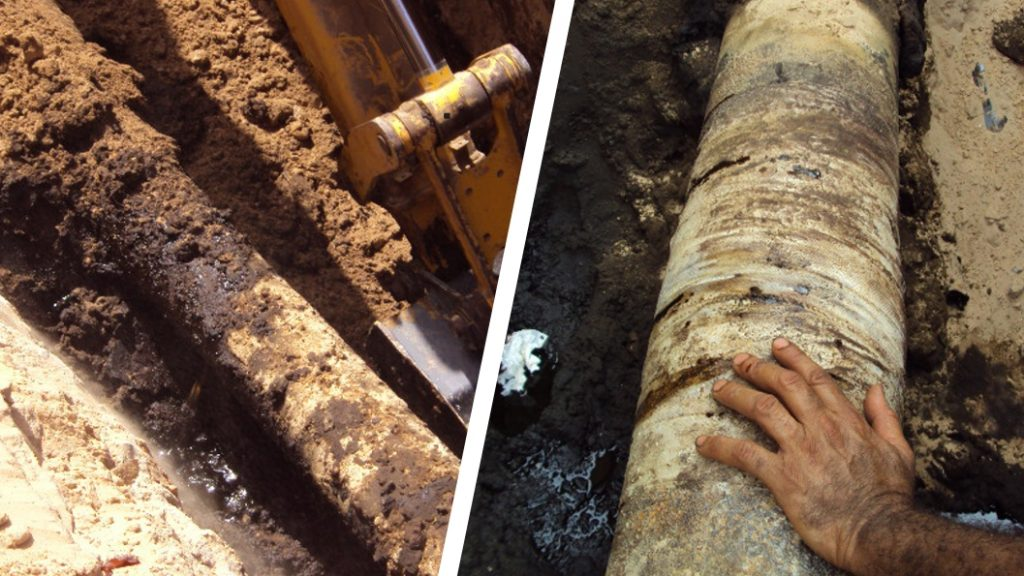 Sylmasta repair a 200mm underground oil fuel line in Brega, Libya suffering from a crack caused by heavy corrosion