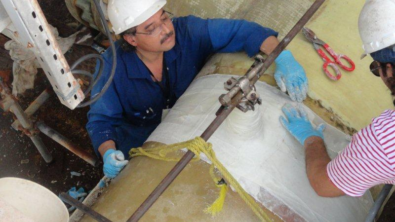 SylWrap HD Pipe Repair Bandage being applied to a 1500mm seawater supply line