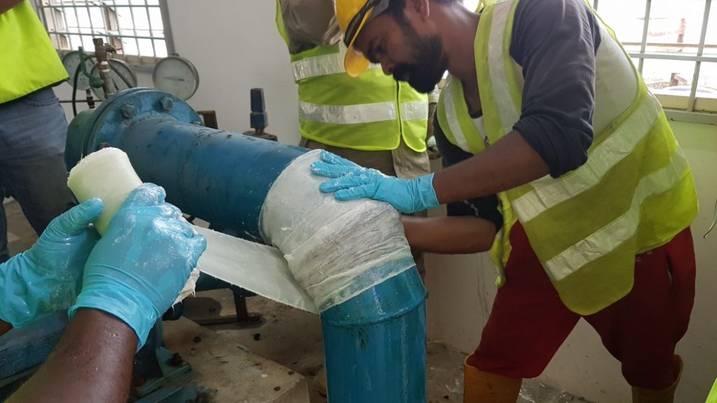 SylWrap HD Pipe Repair Bandage used to reinforce a repair on a 150mm elbow joint in a Malaysia pumping station