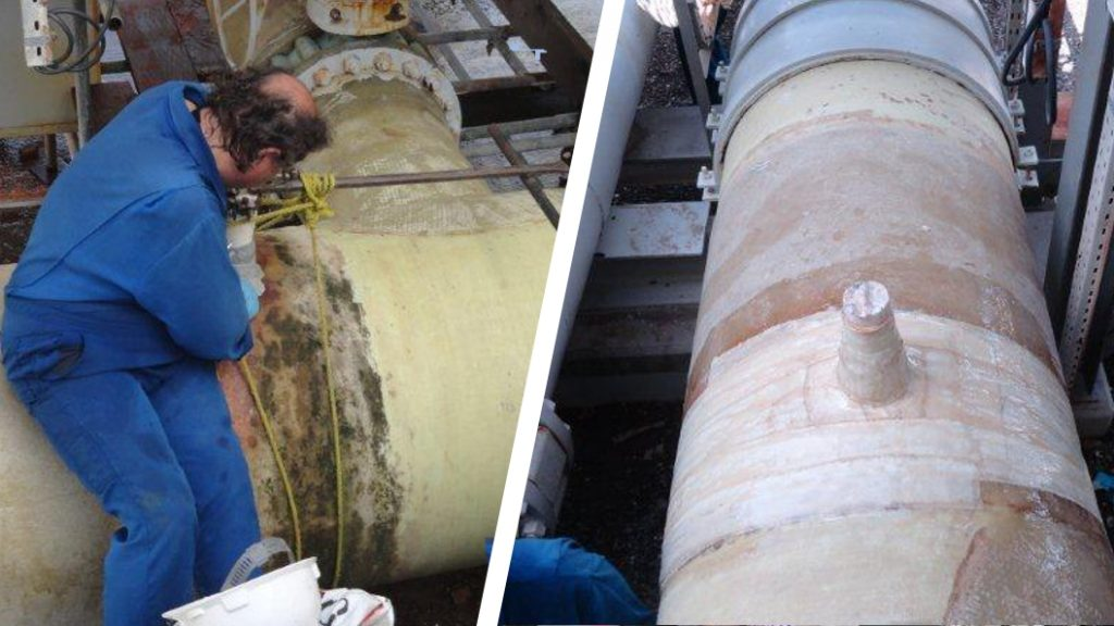 A 1500mm line in a seawater cooling system undergoes repair after it began leaking from a broken off nozzle