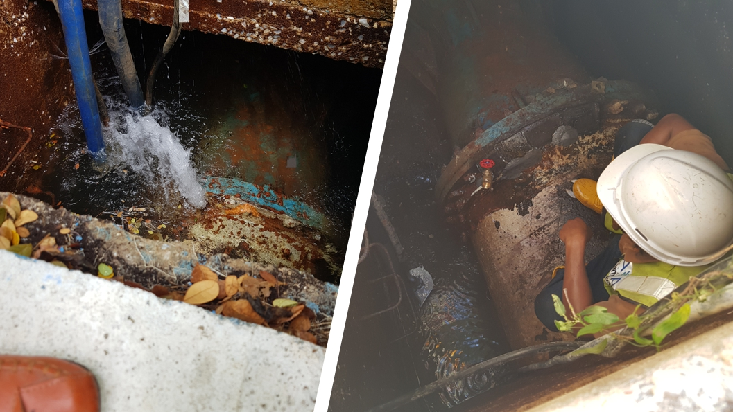 A 900mm steel water main leaking in an undeground chamber undergoes repair using Superfast Steel Epoxy Putty